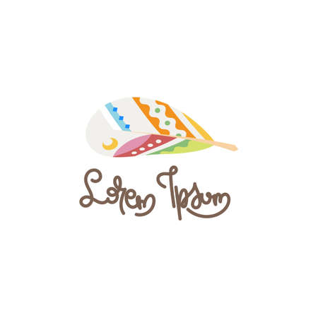 Boho feather, native symbol, natural, writer literary.  イラスト・ベクター素材