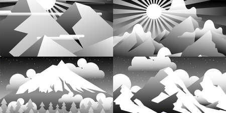 Set of abstract landscapes. Design templates in bright gradient colors.