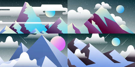 Set of abstract landscapes. Design templates in bright gradient colors with copy space for text. Ilustração