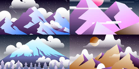 Set of abstract landscapes. Design templates in bright gradient colors with copy space for text. collection of screen or banner background