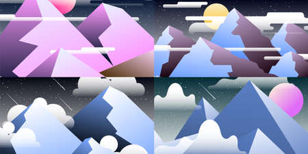 Set of abstract landscapes. Design templates in bright gradient colors with copy space for text. collection of screen or banner backgrounds Ilustração