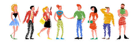 Group of doodle people standing in a row on white background. Isolated collection of men and women