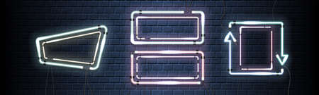 Two neon shine double cadres with empty place for your text. Set of vintage electronic luminous dual frames on a brick background for your design.