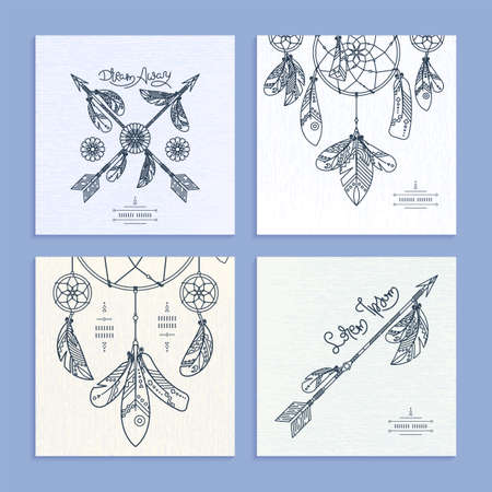 Collection of drnate dream catcher templates. Vector abstract illustration with feathers, modern line style. Background or greeting card with place for your text