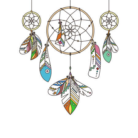 Ornate dream catcher with feathers. abstract illustration, modern line style. Background or greeting card with place for your text