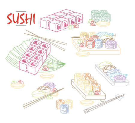 Isolated sushi icon set of different types of rolls with wasabi soy ginger. Delicious vector collection for restaurant and bar menu, booklets or prints