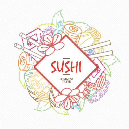Sushi. Japanese food. Rolls with fish and caviar on eco plate, chopsticks, ginger and soy sauce. Delicious illustration for restaurant and bar menu, booklets or prints