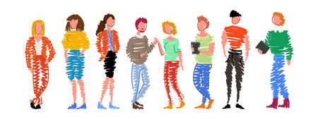 Group of doodle people standing in a row on white background. Isolated vector collection of men and women Vetores