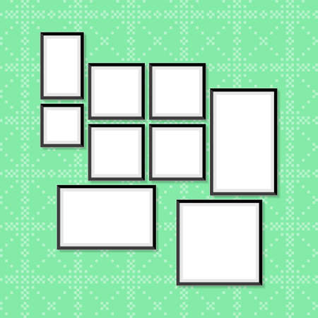 Set of photo and art frames on wall in a flat style. Simple blank photoframes collection vector illustration Stock Illustratie