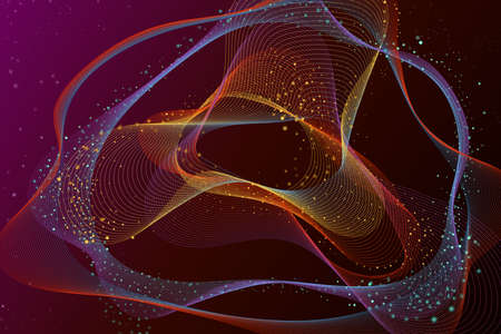 Abstract 3D glowing digital wave particles background. Futuristic vector technology concept illustration