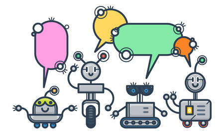 Kawaii smiling robots with speech bubbles. Isolated trendy flat cartoon characters. Voice support service chat bots. Vector virtual online help customer support