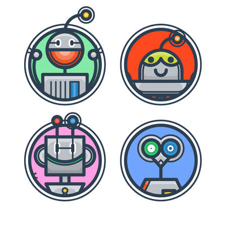 Set of flat robot avatars for apps and games, web-design, media, social networks icons. Vector isolated collection Ilustrace
