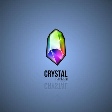 Rainbow crystal. Trendy gradient design facet gem. Shape logo in multiple colors for business visual identity. Vector geometric icon Ilustrace