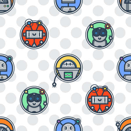 Kawaii robot trendy seamless pattern in retro style. Modern endless tech ornament for kids. Vector texture with bots.