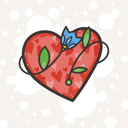 Doodle ornate heart emblem with flower. Logo for beauty studio, children books, kid and game design. Vector composition