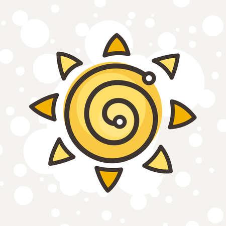 Doodle ornate sun emblem. Logo for weather, children books, kid and game design. Vector composition