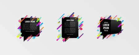 Set of colorful templates with abstract gradient shapes. Neon color lines and cards in a modern trendy design style. Futuristic vector lined background