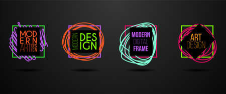 Vector frame. Modern design graphics. Dynamic hipster frame stylish background. Element for business cards, text, brochures, invitations, gift cards and flyers