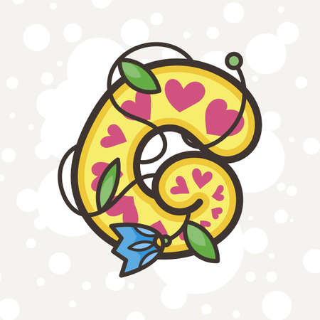 Doodle ornate letter emblem with flower. Logo for beauty studio, children books, kid and game design. Vector lettering composition