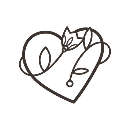 Doodle ornate heart emblem with flower. Logo for beauty studio, children books, kid and game design. Vector coloring composition