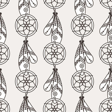Seamless boho pattern with ethnic tribal feathers, modern vector illustration, for wallpaper, web page background, greeting cards, fabric print