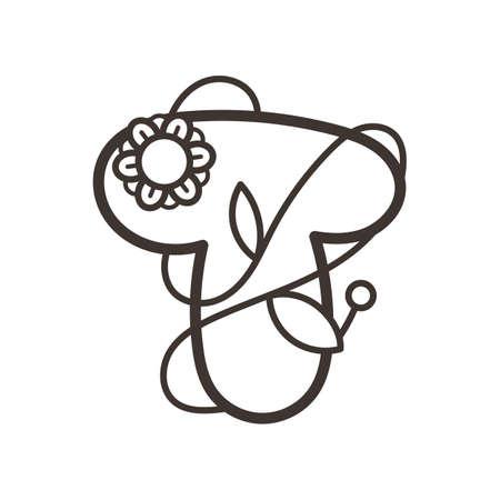 Doodle ornate letter emblem with flower. Logo for beauty studio, children books, kid and game design. Vector lettering composition for colorings
