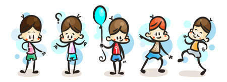 Collection of happy cartoon kid boys, colored hand drawn doodle outline style. Vector set