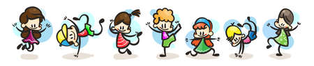 Collection of happy cartoon kids, colored hand drawn doodle outline style. Vector sport set