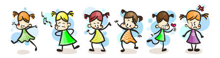Collection of happy cartoon kid girs, colored hand drawn doodle outline style. Vector set