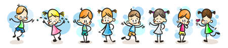 Collection of happy cartoon kids, colored hand drawn doodle outline style. Vector set 일러스트