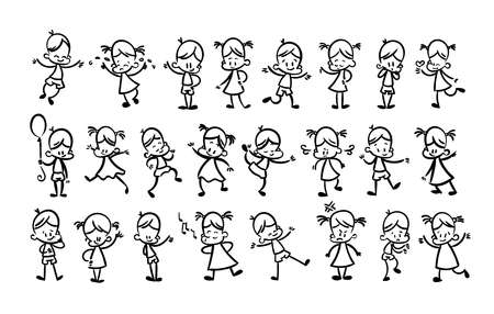 Collection of happy cartoon kids, lined hand drawn doodle outline style. Vector coloring set