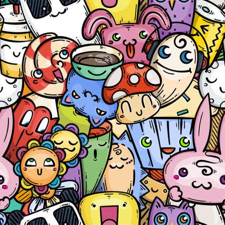 Cute doodle smiling creatures seamless pattern for child prints, designs and coloring books. Rabbits, cats, mashroom, pen, cream, tea, panda bear. Vector illustration Vetores