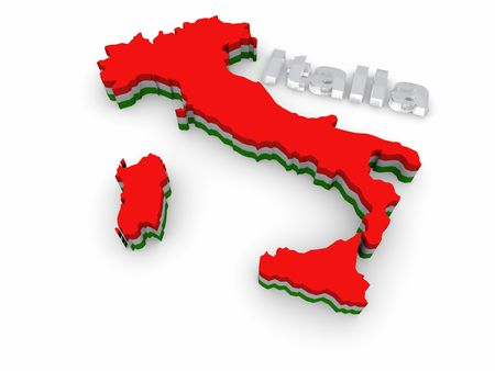 Simple 3D map of Italy photo