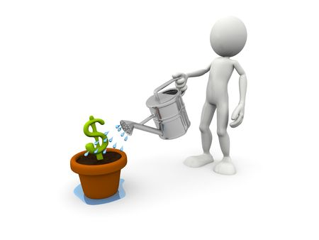 cultivating: Person pouring Dollar Symbol