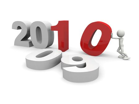 3D 2010 New year concept Stock Photo