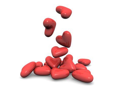 Falling Hearts Stock Photo