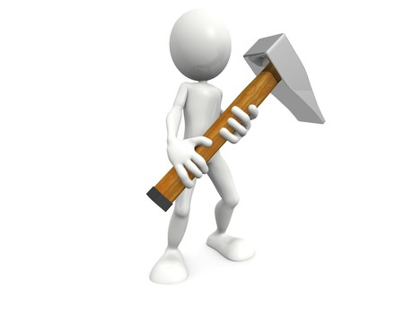 3D person holding a big hammer