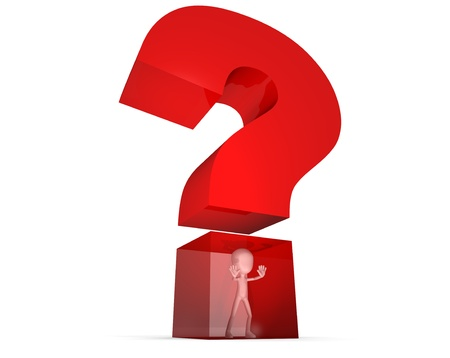 Trapped in a question mark  Stock Photo