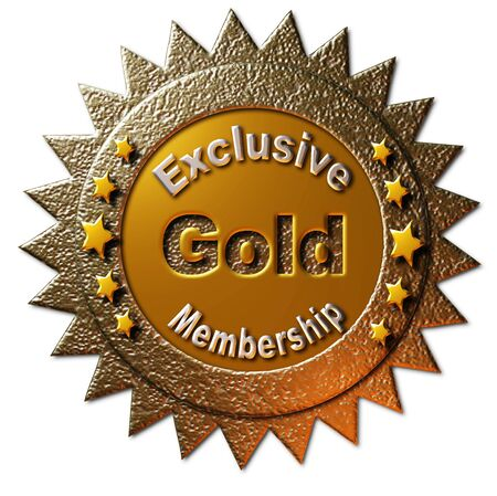 declaring: This golden seal declaring Exclusive Gold Membership with five golden stars can be utilized on any web page or other promotional material for golden membership to any program.