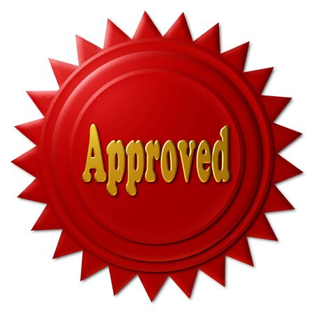 declaring: Red and gold seal declaring Approved Stock Photo