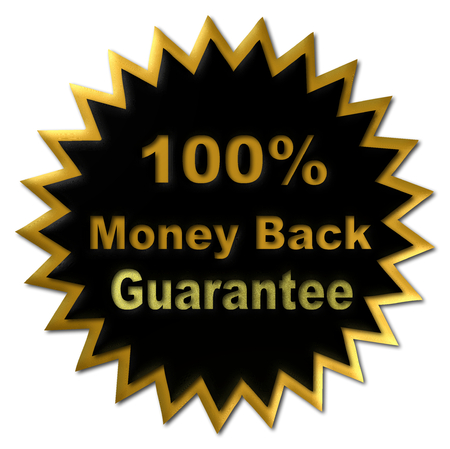 declaring: gold red and black seal declaring 100% Money Back Guarantee Stock Photo