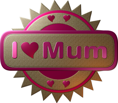 declaring: Gold and pink seal declaring I heart Mum