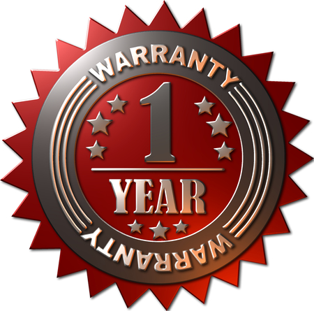 1 year warranty: A red and silver seal with stars indicating a warranty of 1 year