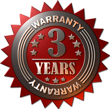 1 year warranty: A red and silver seal with stars indicating a warranty of 3 years