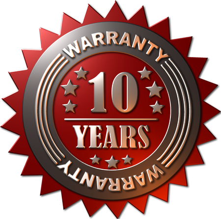 1 year warranty: A red and silver seal with stars indicating a warranty of 10 years Stock Photo