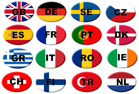 ISO 3166-1 のアルファ 2 コード形式で国コードを持つヨーロッパのフラグ ボタン 写真素材