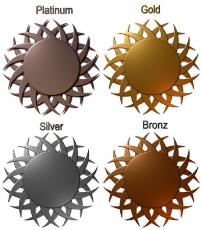 プラチナ ゴールド × シルバーとブロンズのメダルは白い背景で隔離の図