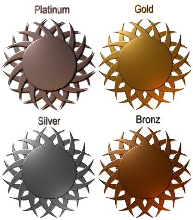 Set of platinum gold silver and bronze medals Illustration isolated on white background