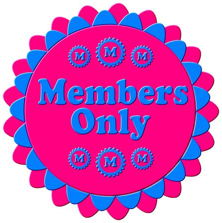 elite: A 3D modern members only stamp, seal in blue and pink with a flower petal border