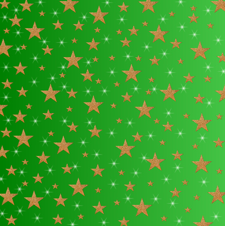Christmas card, New Year holiday with yellow stars and sparkles on a shaded green background Stock Photo